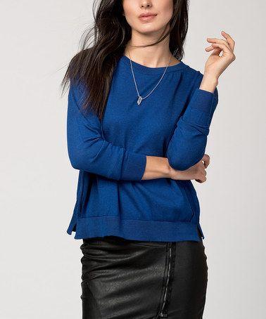Look at this #zulilyfind! Saxon Blue Split-Back Crewneck Sweater #zulilyfinds