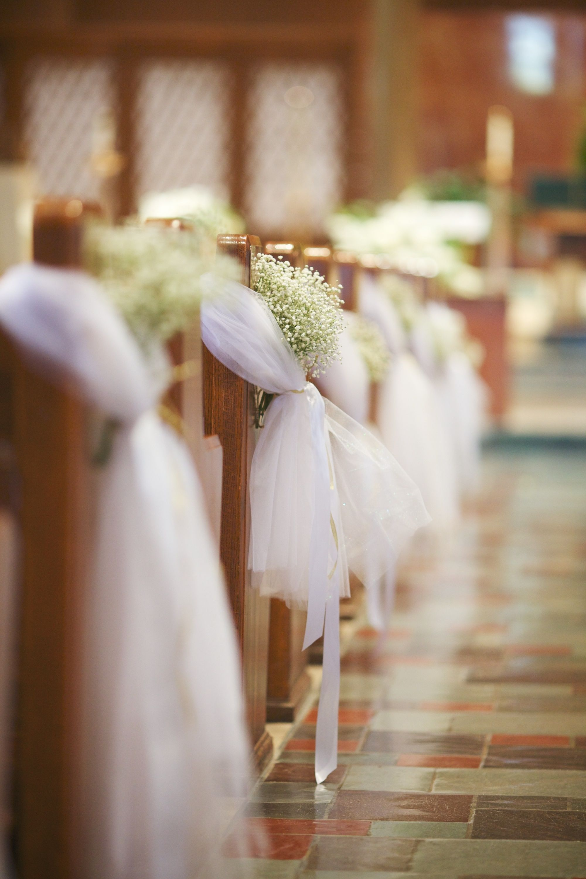 Pew bows with tulle and Baby's breath | Flowers by ...