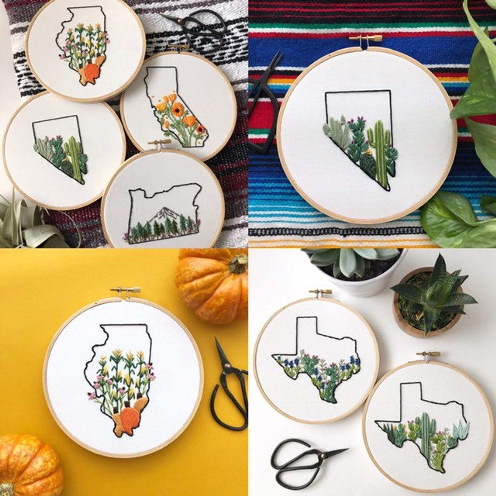 Your state embroidery art Embroidery art, Embroidery