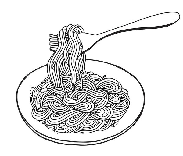 Hand Drawn Doodle Noodle At Plate And Fork Illustration Noodles Pasta Asian Wheat Noodles Breakfast Dinner Illustration Asian Wheat Noodles Breakfast Noodle Art How To Draw Hands Pen Art Drawings