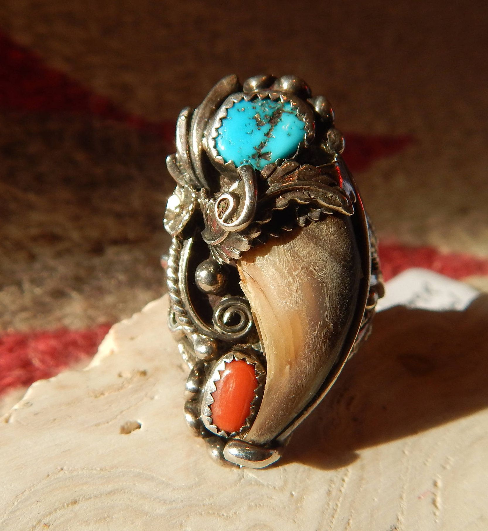 size 12 ring turquoise faux claw southwestern jewelry Texas mens
