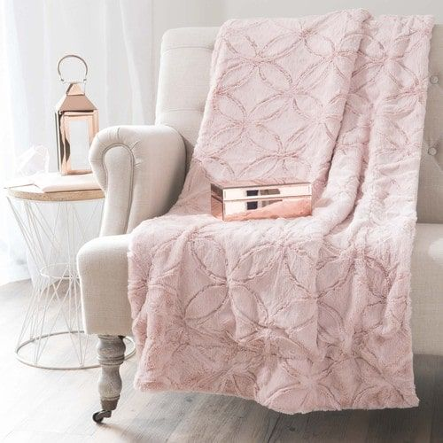 plaid rosa in pelliccia ecologica 130x170 cm living room plan white faux fur blanket metal