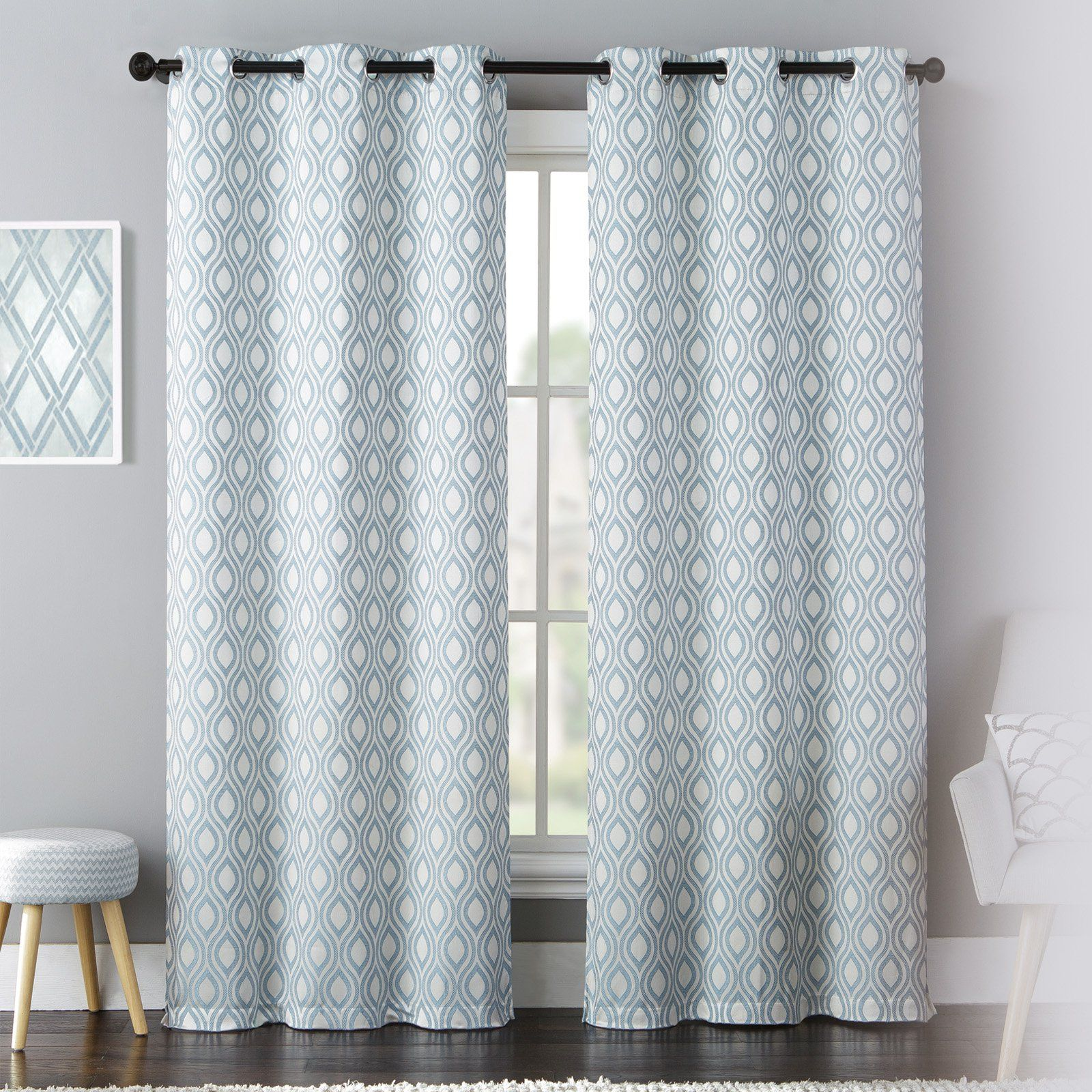 United Curtain Mystique Curtain Panel Pairs Blue Curtains Panel