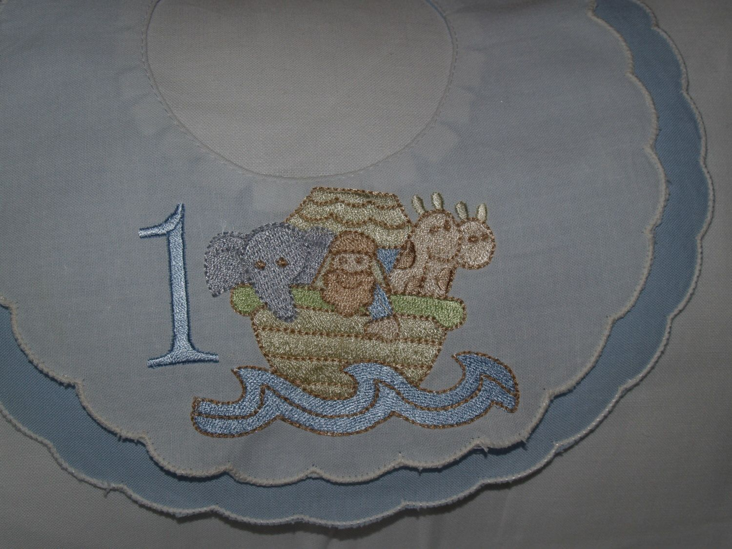 A personal favorite from my Etsy shop https://www.etsy.com/listing/226969153/heirloom-noahs-ark-first-birthday-blue
