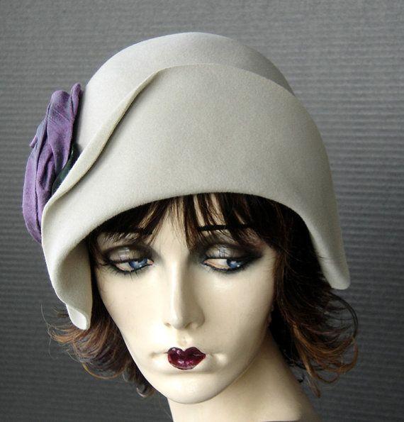 1920 Style Sueded Alabaster Cream Velour Cloche With Violet Iridescent Silk Rose.