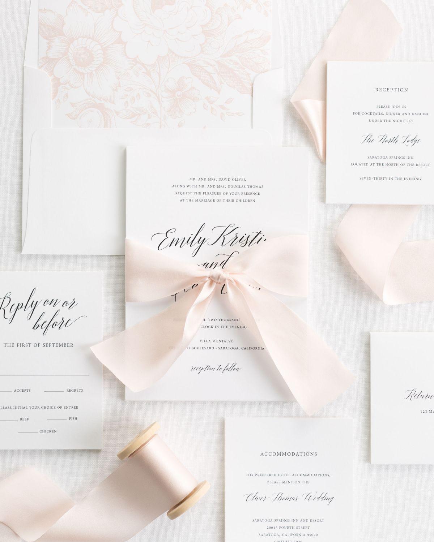 Complete Wedding Invitation Kits: Garden Romance Ribbon Wedding Invitations