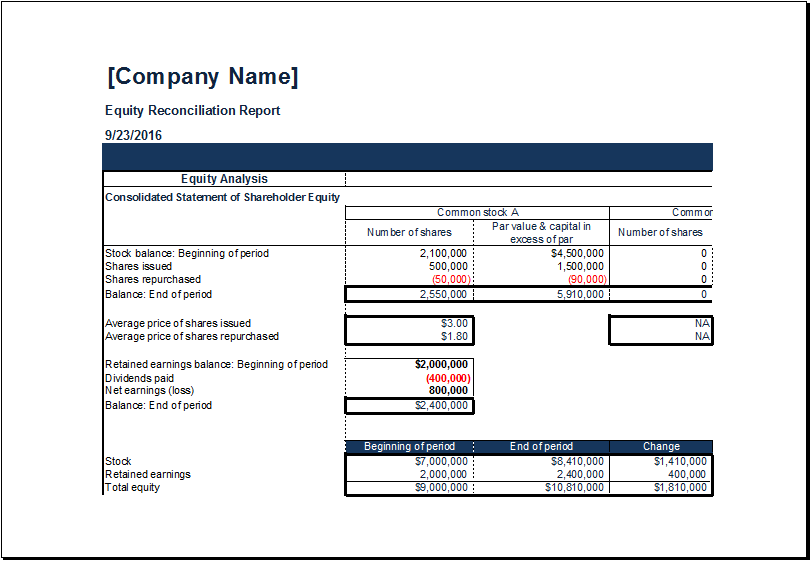 Equity Reconciliation Report Template At XltemplatesOrg