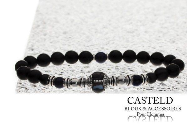bracelet homme luxe de marque en perles noires et argent