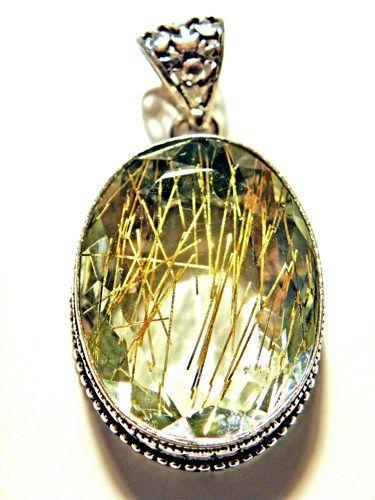 Handmade golden rutilated quartz pendant 225 bling bling handmade golden rutilated quartz pendant 225 mozeypictures Images