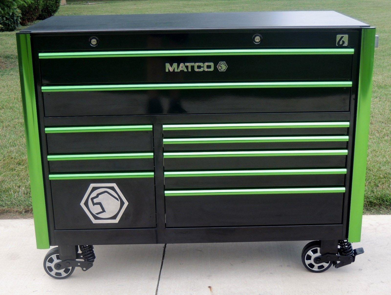 Matco Tools 6228rx 6s Black Green Trim Tool Box Toolbox Phenolic Top Tool Box Tool Box Storage Matco Tool Box