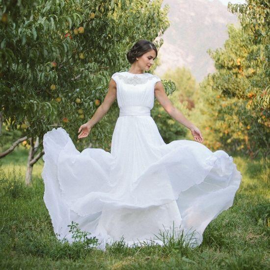 Silk chiffon and beaded yoke modest wedding dress | Bridal ...