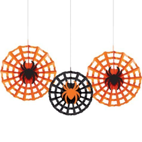 Halloween Spiders Paper Fan Decorations - Party City