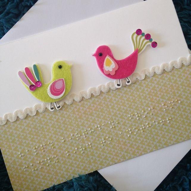 Braille Birthday Card- Birds