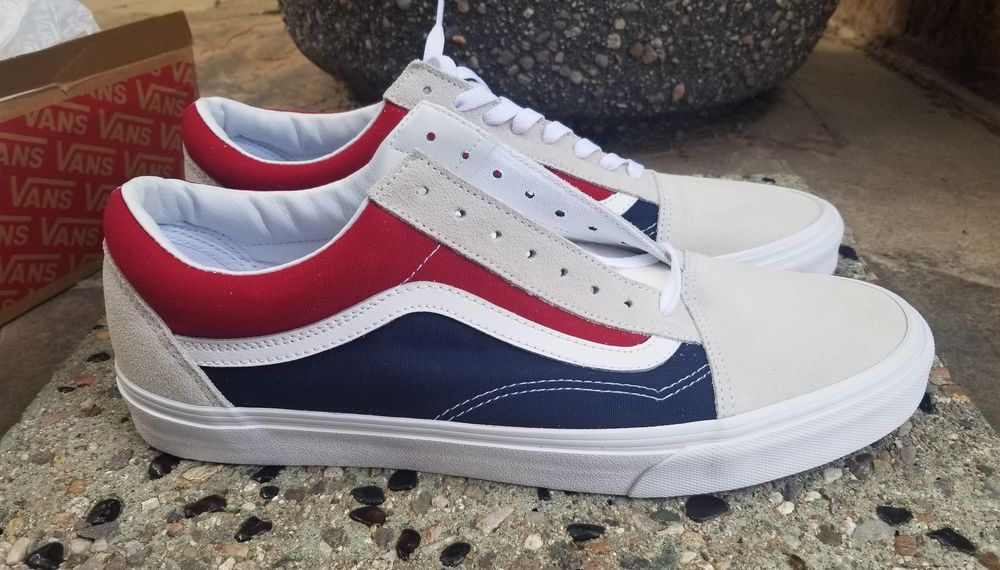 44a5ad8695a VANS OLD SKOOL RETRO COLORBLOCK WHITE RED DRESS BLUES YACHT Men s SZ 13   VANS  AthleticSneakers