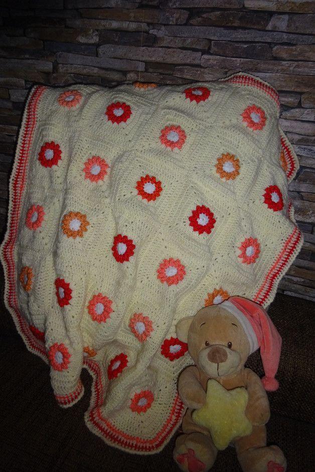 Babydecke Wagendecke Autositzsdecke Gehäkelt Wolle