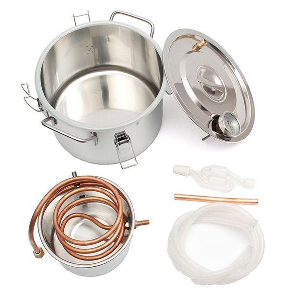2GAL/8L Copper Moonshine Ethanol Alcohol Water Distiller Stainless Boiler Home Brewing Tool