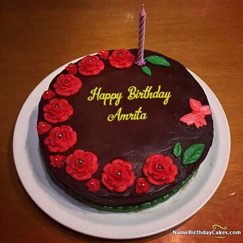 The Name Amrita Is Generated On Candle Cake Birthday Wishes For