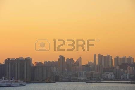 the sunset in Hong Kong at Hung Hom