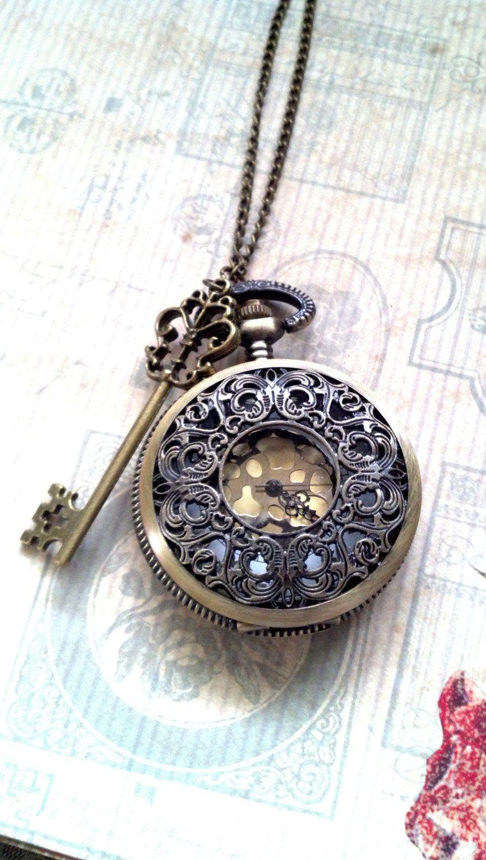 steam punk pocket watch locket necklace with skeleton key. Black Bedroom Furniture Sets. Home Design Ideas