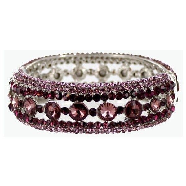 Helen's Heart Style JB-OFB-758 Purple Crystal Stone Bangle Bracelet ($38) ❤ liked on Polyvore