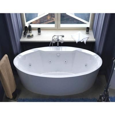 Universal Tubs Sunstone Diamond Series 5.7 ft. Center Drain Whirlpool and Air Bath Tub in White-HD3468SDX at The Home Depot