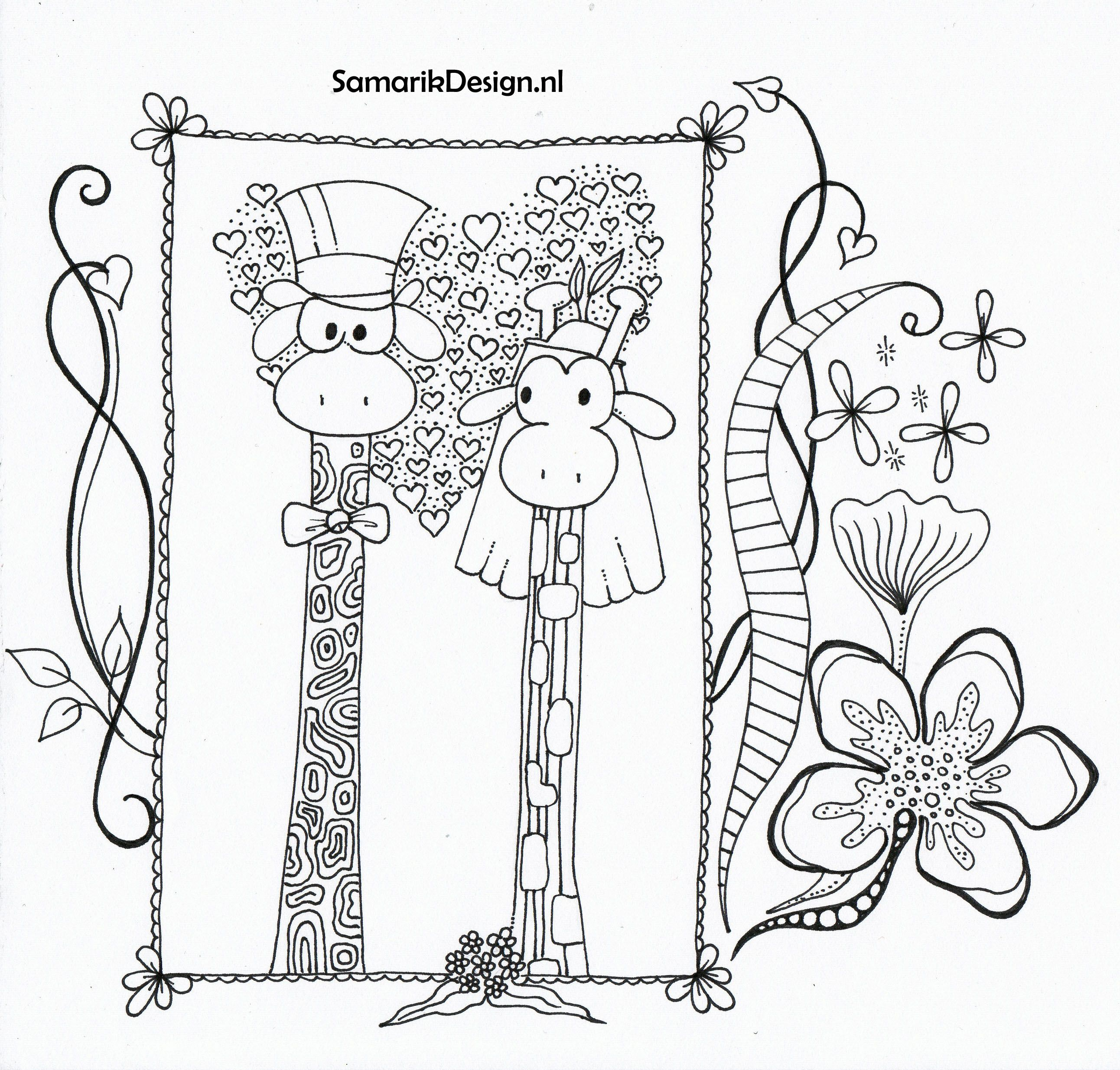 Giraf Valantijn Love Doodle Kleurplaten Kleurplaten Voor Volwassenen