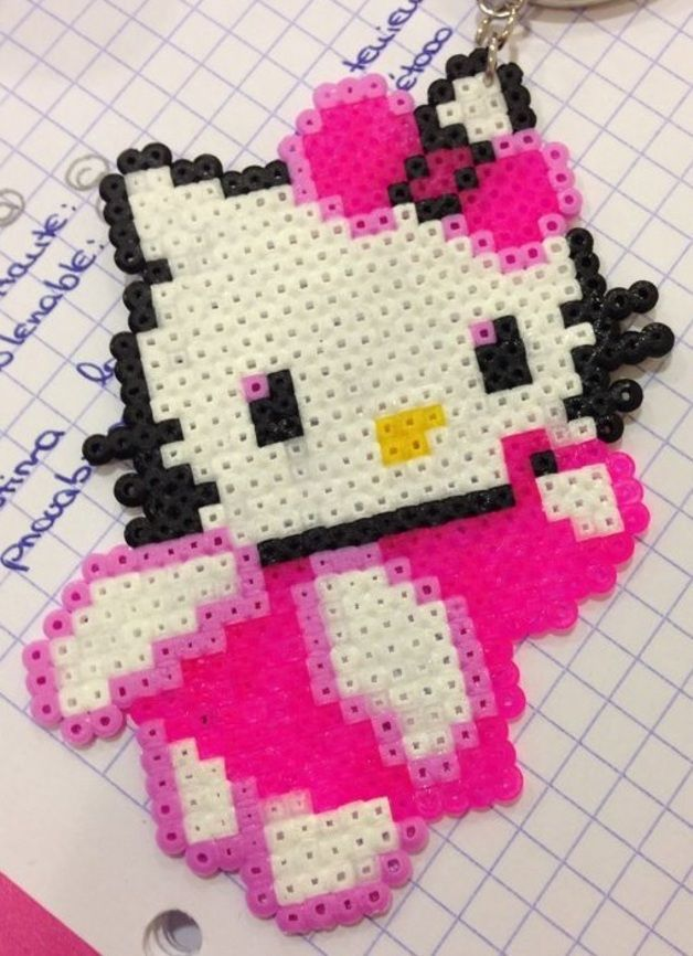Hello Kitty keychain hama perler beads by Raquel5394