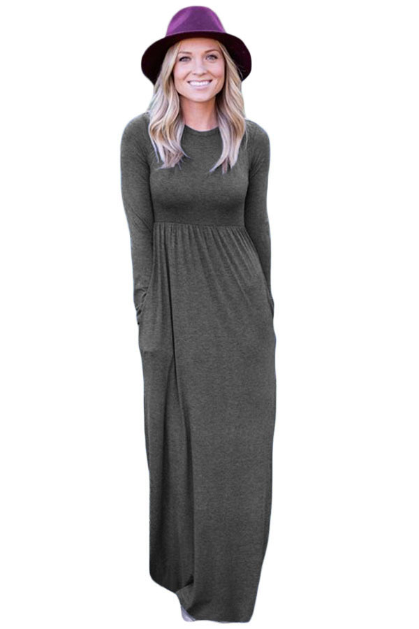 1028d47201d New fashion  Charcoal Long Sleeve High Waist Maxi Jersey Dress! Save up to  85% on select styles! Order Today  style  fashion  boutiquefashion   victoryroze ...