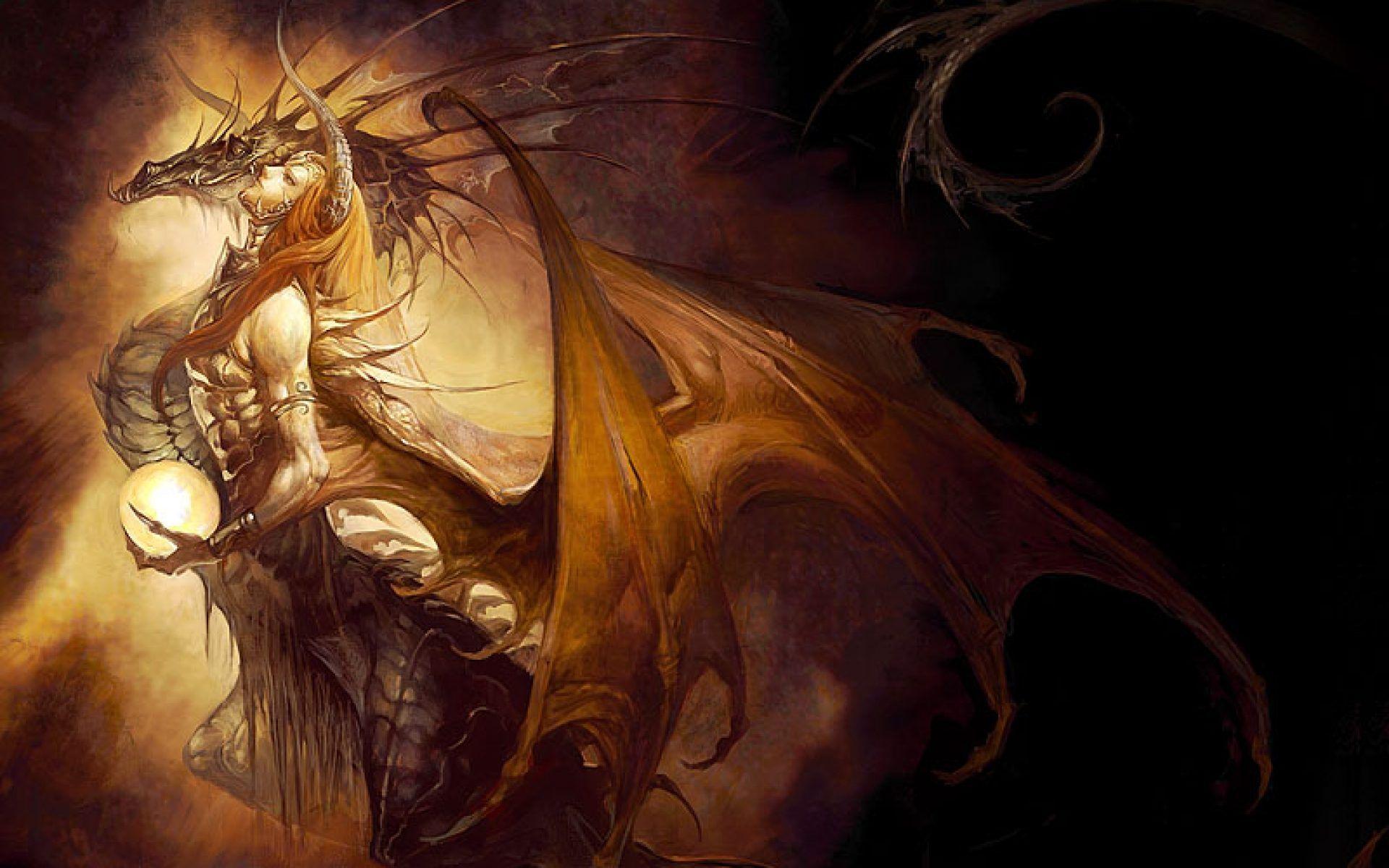 Desktophdwallpaper Org Soul Art Female Dragon Mythical Dragons