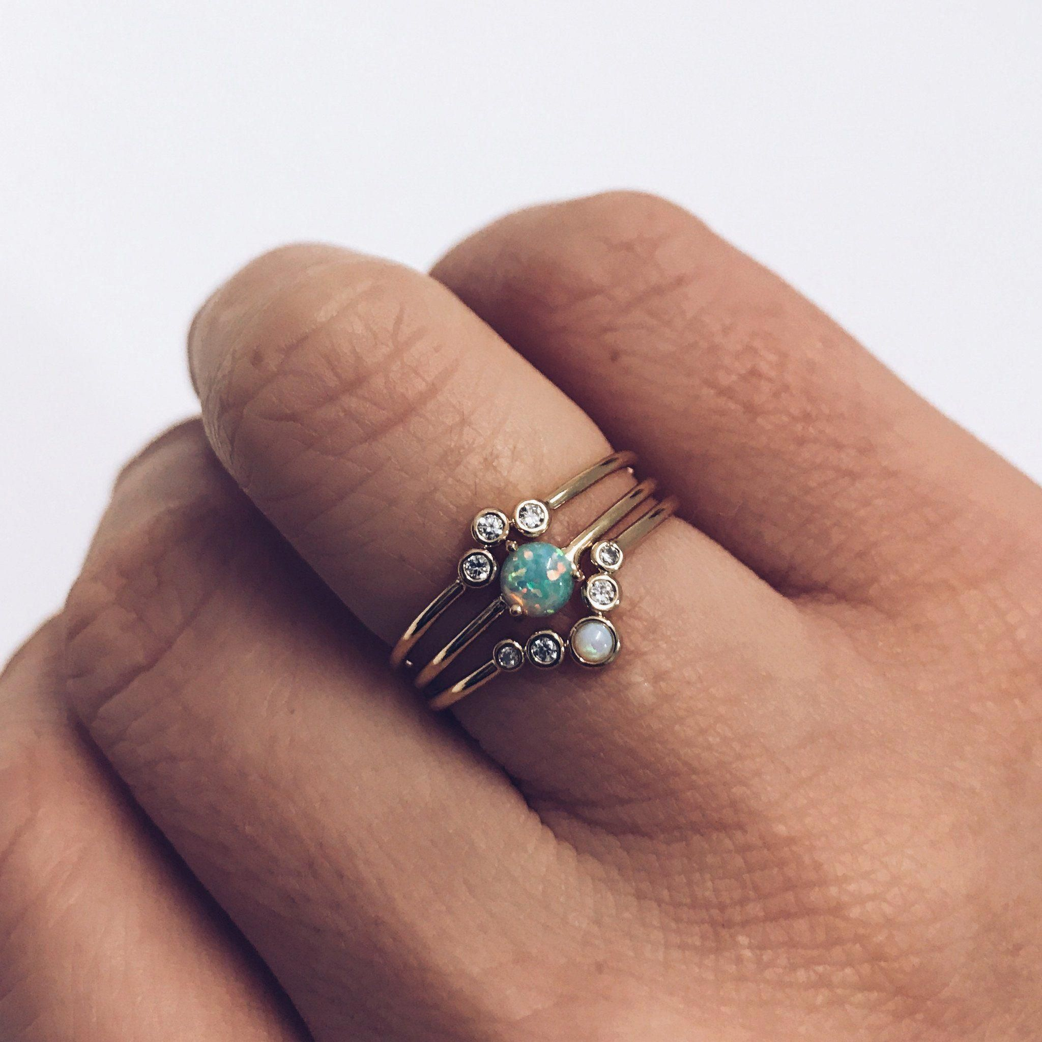 local eclectic Opal & Arched Stacking Ring Set