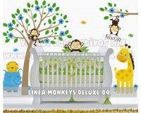 Vinil Decorativo Infantil Monkeys Deluxe 04 | Arbol y Rama con Changuitos, Leon, Elefante, Jirafa y Changuito http://vinilosdecorativosmx.com/vinilos-infantiles