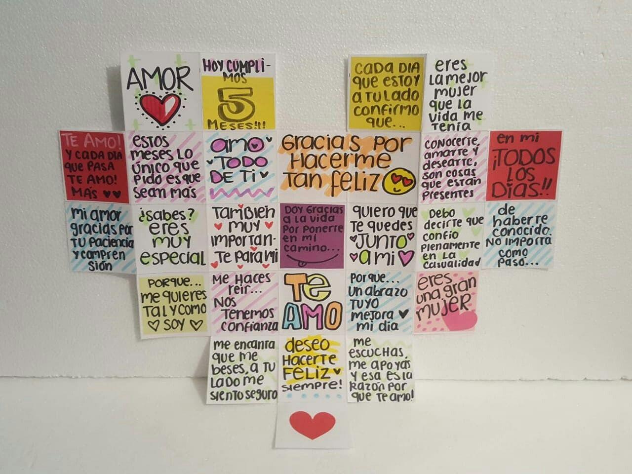 Carta 5 Meses Regalo 5 Meses Corazon Bf Love Boyfriend Gifts