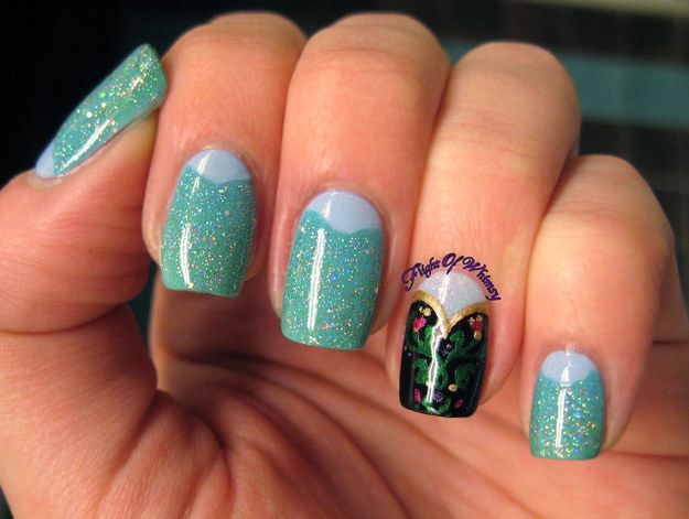 Elsa Nails With Anna Accent Frozen Nail Art Disney Frozen Nails Disney Nails