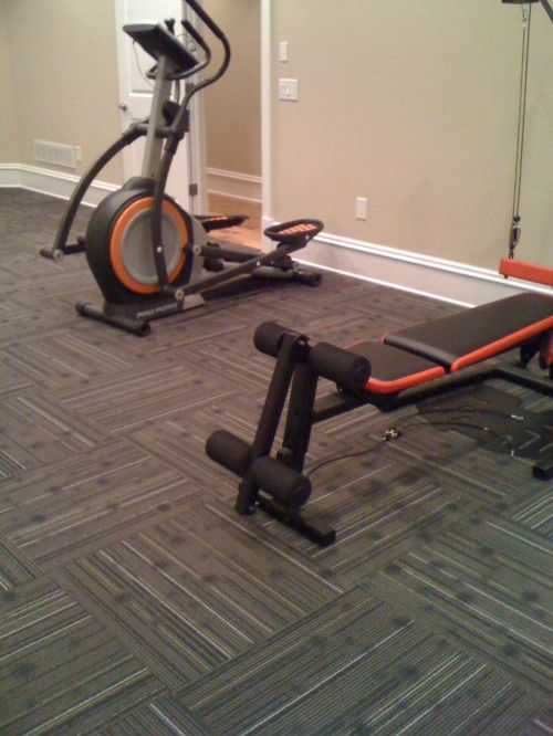 Home Gym Floor Using Commercial Carpet Squares 24x24 The Art Of