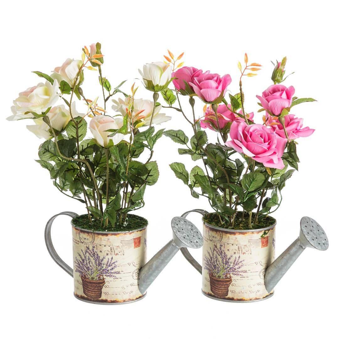 Planta rosa artificial macetero de forja con forma - Maceteros de forja ...