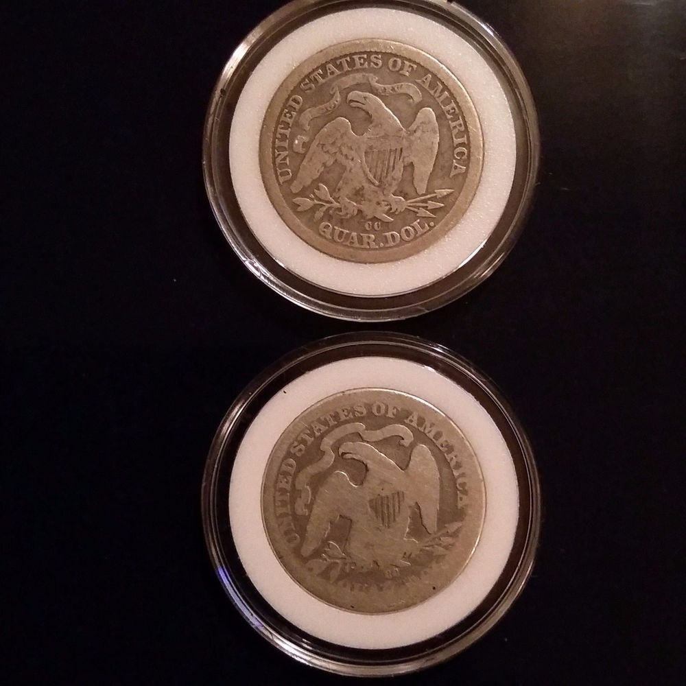1876CC and 1877CC Seated Liberty quarters, two from