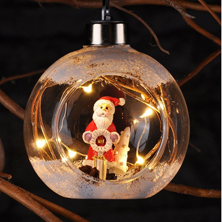 Beleuchtete Christbaumkugeln.Mundgeblasene Und Led Beleuchtete Christbaumkugel Weihnachtsmann