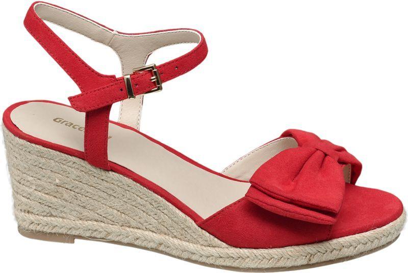 Trendy Sandaletten Damen Schuhe Keil Wedges Pumps 1991 Rot 37