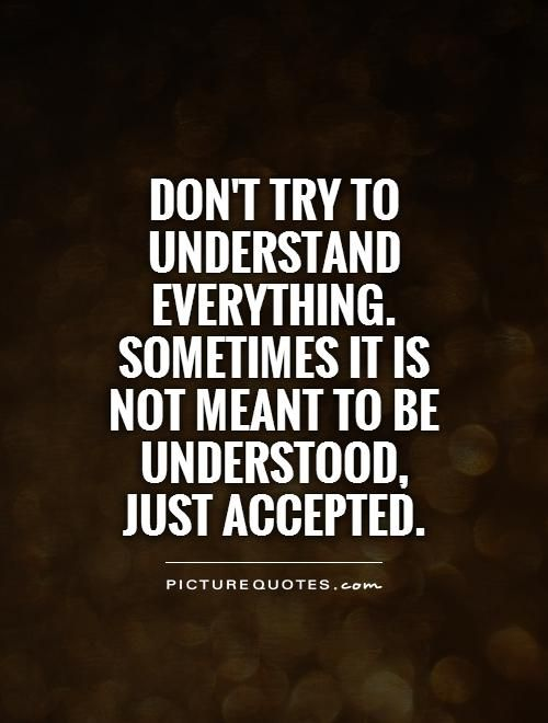 Don T Try To Understand Everything Sometimes It Is Not Meant To Be