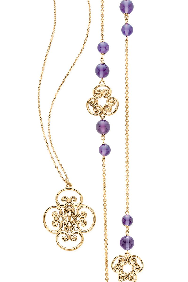 Necklaces in 18k gold from Paloma's Venezia collection. From left: Goldoni quadruplo and triplo link with amethysts. #TiffanyPinterest