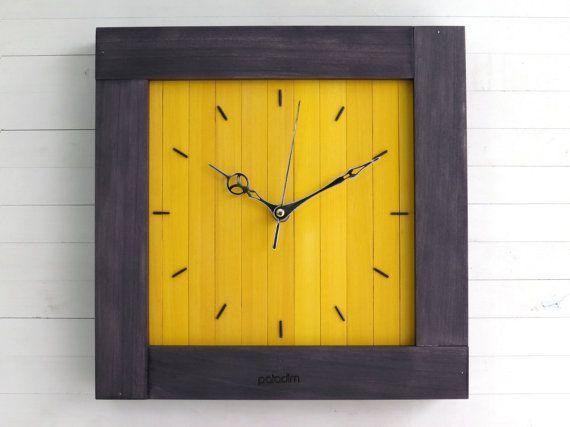 Large Wall Clock Yellow Wall Clock Square Clock Wooden Wall | Clock ...