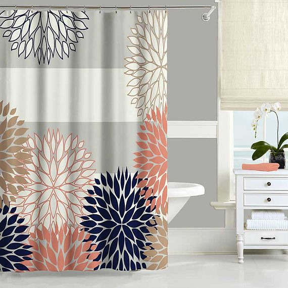 Coral Shower Curtain Navy Blue Pink Gray