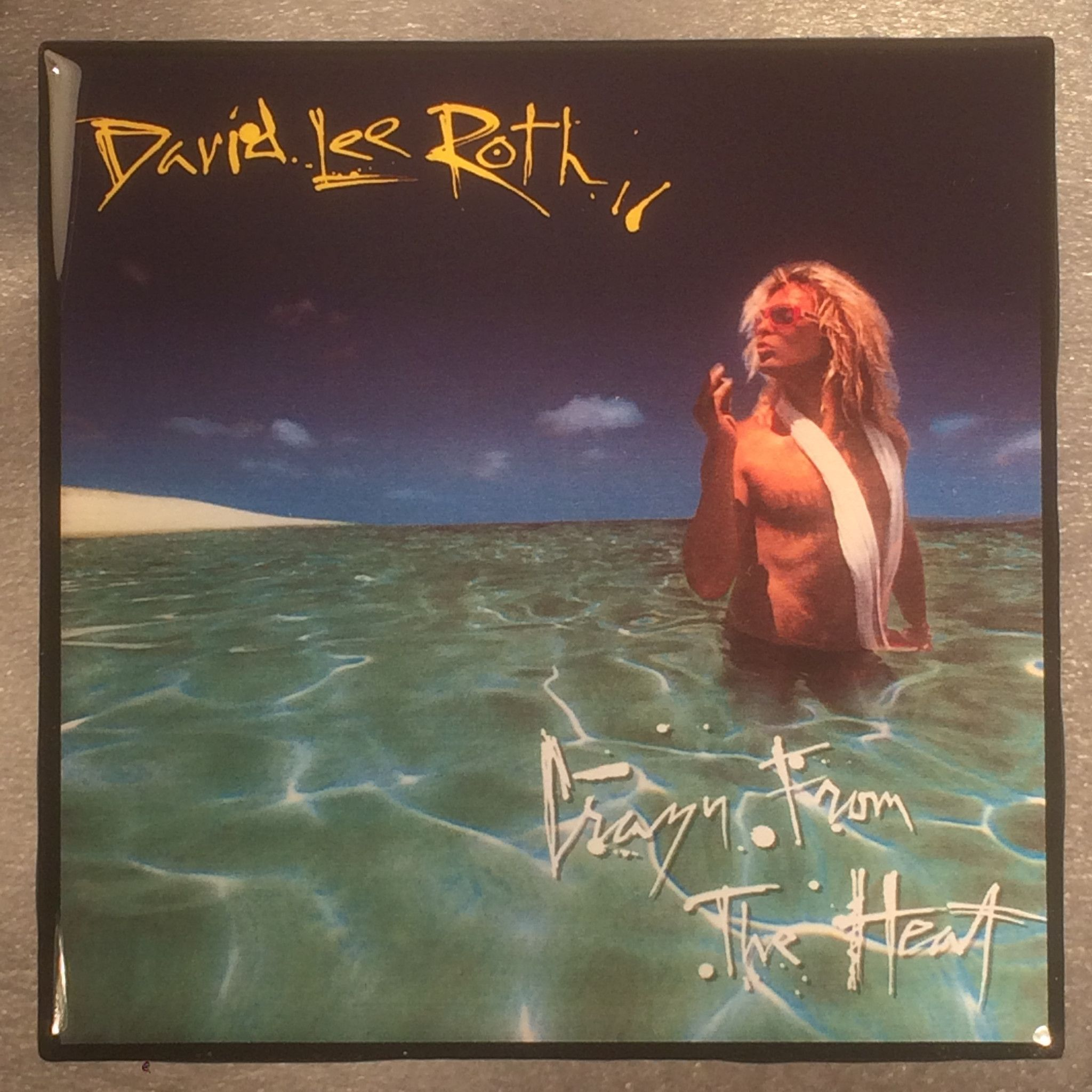David Lee Roth Crazy From The Heat Record Cover Art Ceramic Tile Coaster Ceramic Tile Coaster Cover Art Tile Coasters