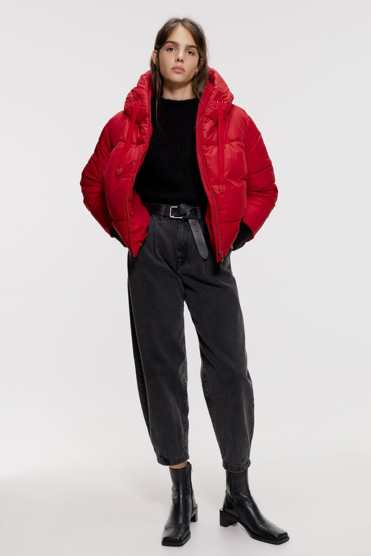 Puffer Jacket With Hood Zara United Kingdom Red Puffer Jacket Puffer Jacket Women Puffer Jackets [ 1500 x 1000 Pixel ]