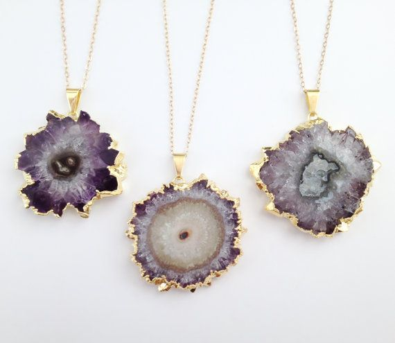 BACKORDER (9/7) - Small Amethyst Slice Necklace - Long Gold Necklace - Free Form Stalactite