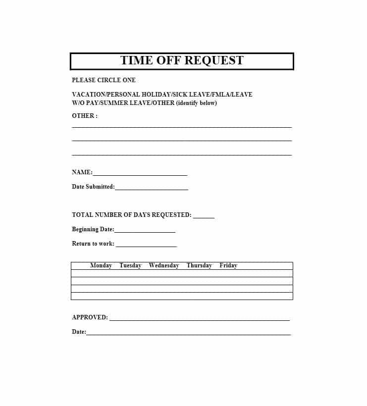 Free Printable Time Off Request Forms Template Pinterest Free - check request forms