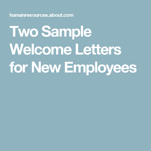 Two Simple Letters to Make Your New Employee Feel Welcome | Work