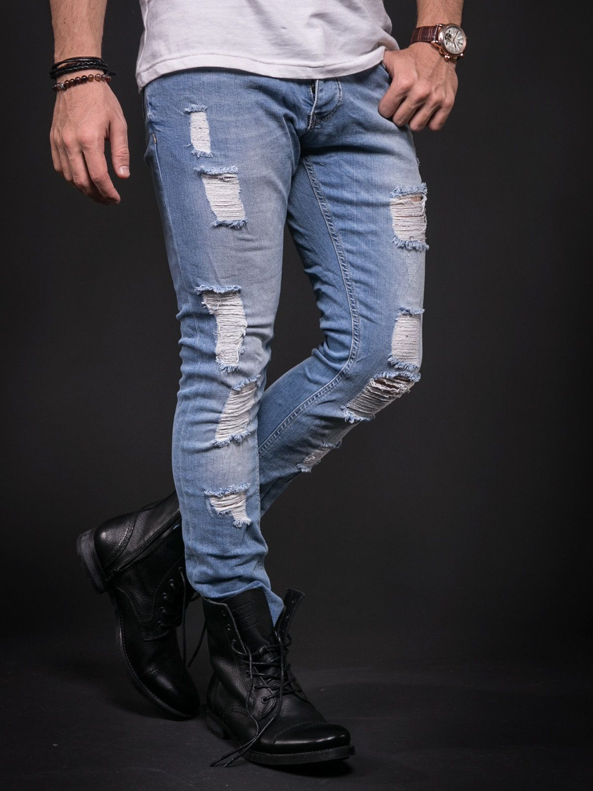 10aaa417 ADJ Men Slim Fit Ripped Destroyed Jeans - Light Blue | King clothes ...