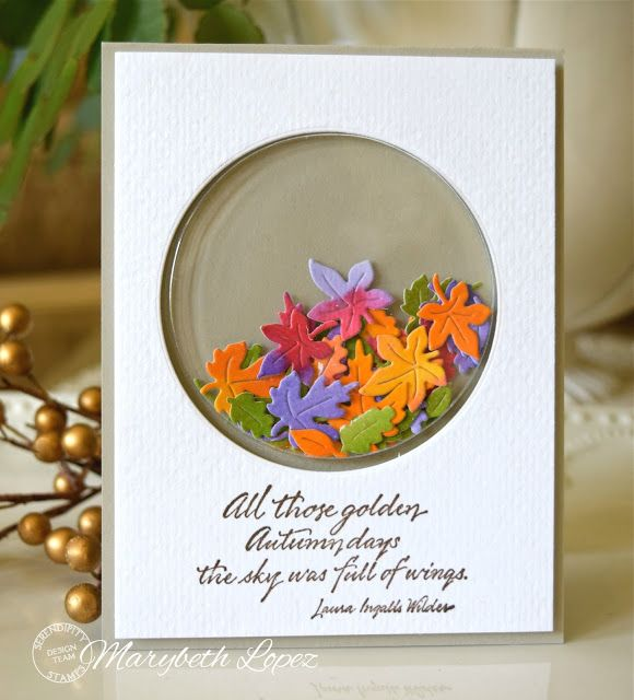Serendipity Stamps Dies and Stamps Fall Shaker Card marybethstimeforpaper.blogspot.com