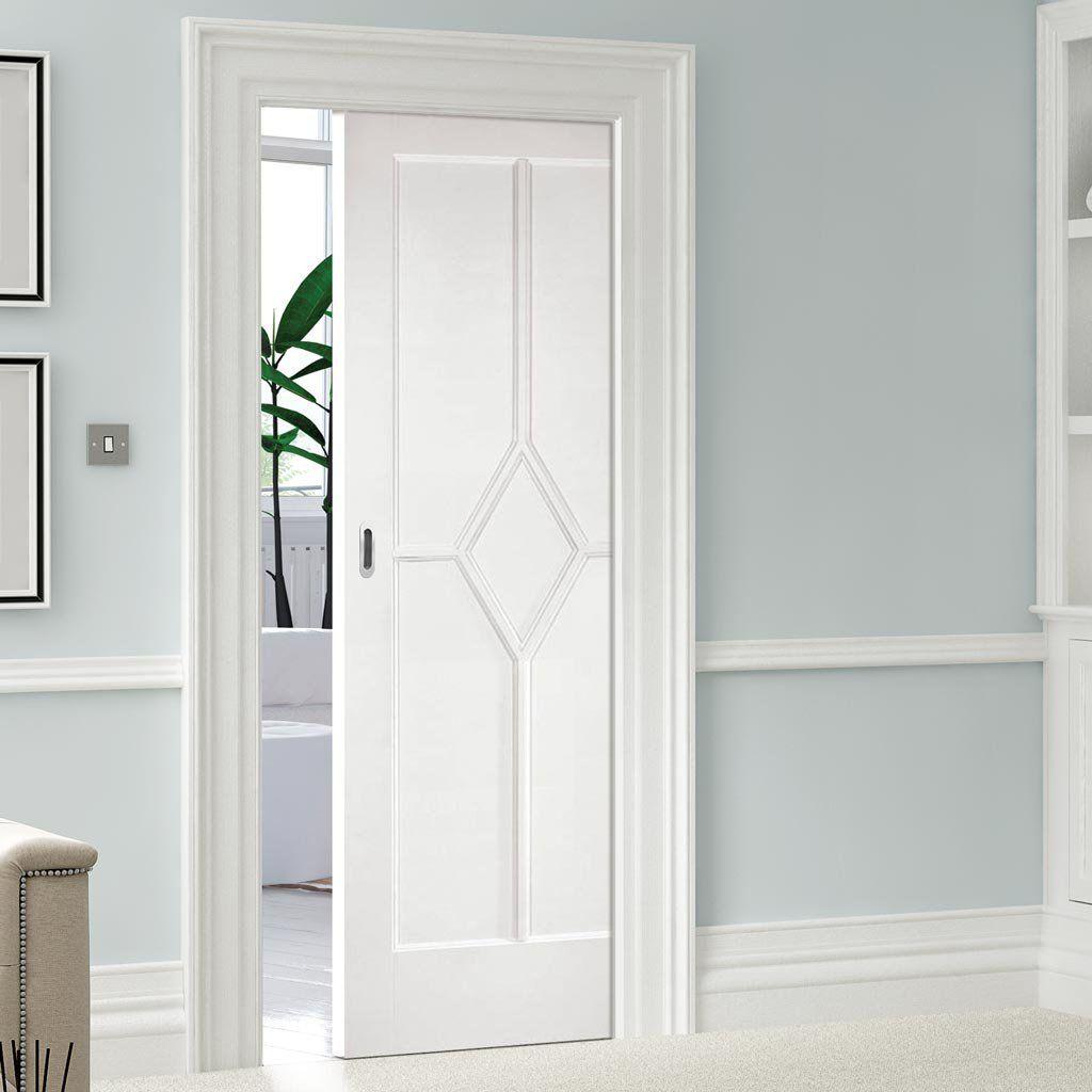 Single Pocket Reims Diamond 5 Panel White Primed Door Doors